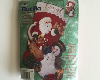 Bucilla Felt Christmas Stocking Kit - Santa and Snowman With Gifts - Unopened