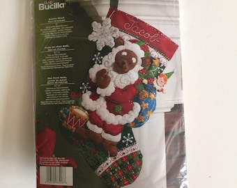 Bucilla Felt Christmas Stocking Kit - Sandy Bear - Unopened