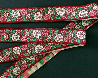 8 ft+ ROSE GARDEN Jacquard trim. White, pink, green on wine red. 7/8 inch wide. R21B