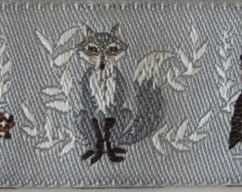 2 yards OWL and FOX Jacquard trim. Grey, brown, tan, white on silvery grey. Super design. 7/8 inch wide. 2010-A