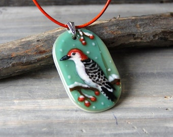Wood pecker in the snow necklace - fused glass pendant  - bird jewelry
