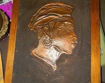 Sale Copper Pressed Art Picture, Ethnic Art, Black Americana, Negro, Art Work, Native African