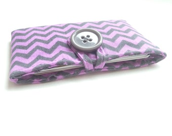 chevron card case. purple grey womens small wallet card holder. cute fabric business card pouch. cotton teacher teen girl gift