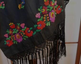 Vintage Black Embroidered Shawl/Scarf