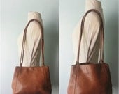 50% OFF SALE Vintage BROWN Leather Shoulder Bag / Distressed Leather Tote / Genuine Brown Leather Handbag Purse