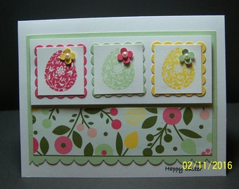 Handmade Stampin Up Easter Egg Card 5.5 x 4.25 - Easter Blossom Happy Easter