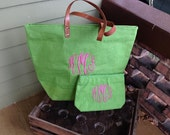 Kiwi Green Monogrammed Jute Tote & Cosmetic Case