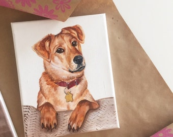 """ORIGINAL CUSTOM PAINTING of your Pet - on 8x10"""" Stretched Canvas"""