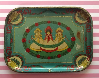 Vintage Tea Set Tray with 3 Little Girls and Garlands of Flowers and Four Leaf Clovers