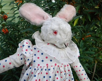 Antique Bunny Girl in a Polka Dot Dress Pink Eyed Stuffed Easter Bunny Rabbit