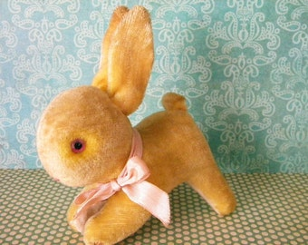 Little Vintage Mohair Bunny Rabbit with Pink Glass Eyes and Bell Easter Basket Filler Occupied Japan