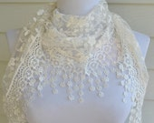 White Lace Scarf, White Mantilla scarf, Lace scarf, lace shawl, shawl scarf, white scarf