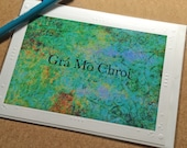 Love Card Irish Language Card Gra Mo Chroi St Patricks Day Valentines Day Embossed Card Blank Photo Greeting Cards Green Blue And Teal