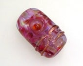 Handmade Lampwork Bead. Cherry Merlot! Encased color-splashed pinks, purples, goldstone.