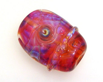 Handmade Lampwork Glass Bead Focal - Anemone! Encased silver glass, raspberry luster, dichro sparkle, bubble dots, bright Bollywood pink.