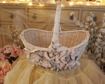 vintage white and pink big cabbage roses and ribbons shabby cottage chic handled painted wicker basket, market basket, cottage charm