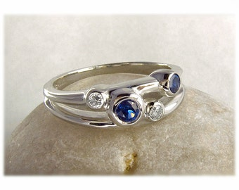 Sapphire and Diamond Wedding Ring - Mother's Ring