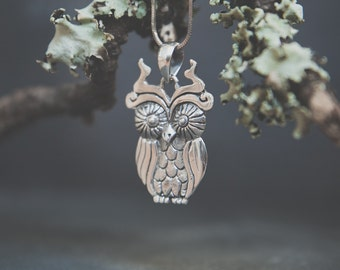 Muju Silver Cosmic Owl Necklace