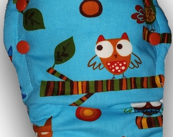 Hoot!  - M/L Organic Bamboo Velour Fitted Cloth Diaper