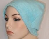 FREE SHIP USA Pale Aqua  Anti Pill Fleece Hat, Winter Hat, Cancer, Chemo Hat, Alopecia