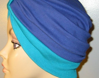 Stretch Knit 2-Tone Blue and Teal  Chemo Hat, Snood, Womens Hat, Cancer, Yoga, Alopecia
