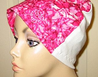 Fuschia  Flannel Sleep Cap, Cancer Cap, Alopecia, Chemo Hat