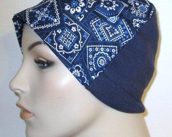 Blue Bandana Print Lightweight Hat -Chemo, Cancer, Alopecia, Sleep Cap, Summer Chemo Hat