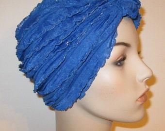 Ruffled Royal Blue Turban, Chemo Hat,  Womens Hat, Alopecia Head cover FREE SHIP USA