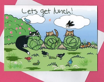 Greeting Card- Cat Funny- Lets Get Lunch- Cartoon Cats - Cats Looking for Caterpillars -  Cat Art- Humor Cats-  Blank Greeting Card