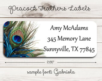 Peacock Feathers  Return Address Labels