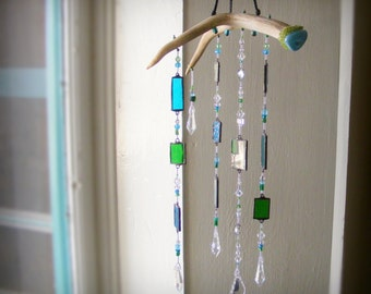 TURQUOISE WINDOWS 3D Suncatcher sun catcher, Deer Antler Stained Glass, mobile, Peridot, magic, shaman, mountain man cabin cottage rustic