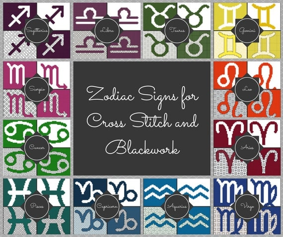 Complete Set of Zodiac Block Patterns for Cross Stitch and Blackwork