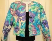 Christmasinjuly SALE Vintage waist length Jim Thompson Thai Silk Jacket, Brilliant floral purple/teal/cream waist length, Sz Small, Lined, F