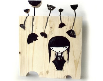 girl with black poppies
