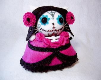 Fuchsia Day of Dead Cat, Cat pincushion, Dia De Los Muertos Cat, Sugar skull pincushion, Cat art doll, Cat gift, Gothic cat, MTO