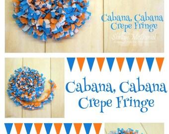 Cabana Handmade Crepe Paper Fringe, Festooning, Trim, Garland, Decoration, Party, Craft Supply, Streamer, DIY,Scrapbooking,Turquoise, Orange