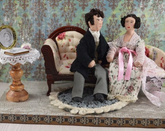 Pride and Prejudice Diorama Art Jane Austen Mr. Darcy and Elizabeth Miniature Scene