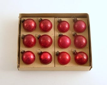 Vintage Christmas Decorations Glass Ornaments Small Red Ornaments