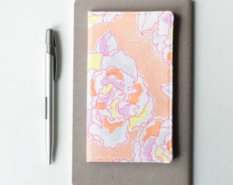 Floral Check Book Cover, Peach Fabric Checkbook Holder, Gift for Her