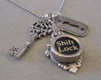 Typewriter key Jewelry Necklace  Shift LOCK and KEY Typewriter Key Necklace Skeleton Key Necklace Keyhole necklace