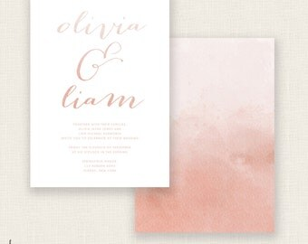 BLUSHING BRIDE - DIY Printable Wedding - Calligraphy and Watercolor Invitation