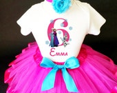 Frozen Anna Elsa Princess Pink Blue Olaf 6th Sixth Girl Birthday Tutu Outfit Personalized Custom Name Age Party Shirt Set