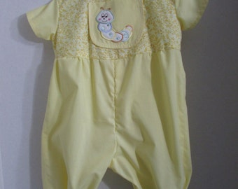 Cotton Inch Worm Romper with sleeves