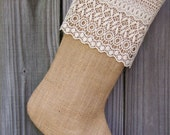 Burlap Stocking Christmas Cotton Lace Country Farmhouse Shabby Rustic Personalized 256