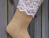 Burlap Stocking Christmas Floral Lace Country Farmhouse Shabby Rustic Personalized 259