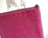 SALE  HARRIS TWEED salvaged wool pouch, zipper utility bag - heather raspberry, fuchsia, magenta - eco vintage fabrics