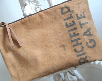 Recycled canvas clutch, large utility bag - Richfield Ohio 1950s park money bag- eco vintage fabrics