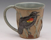 Stoneware Mug with Carved Red-winged Blackbirds and cattails--1 of 2