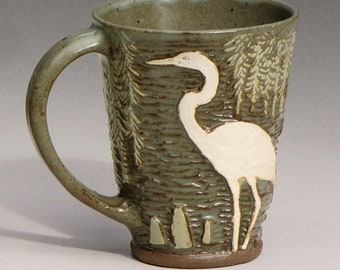 Heron Mug with Spanish Moss Design in Celadon--#2 from a set of 6