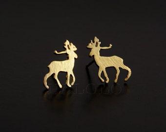 Deer Golden Stud Earring Post Finding (ET033A)